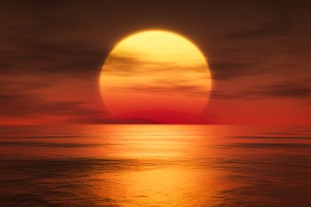 3D-weergave van een zonsondergang over de zee Stockfoto
