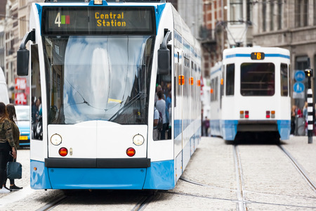 public transport: An image of a tram in Amsterdam