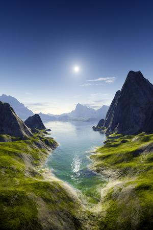 3d rendering of a fantasy coast landscape