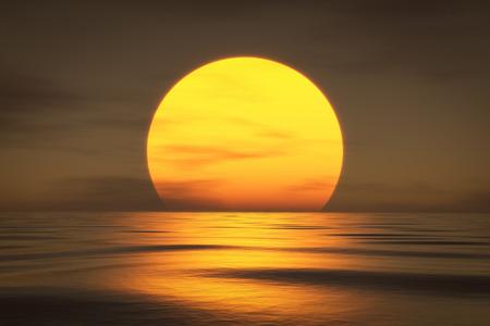 the rising sun: representación 3D de una puesta de sol sobre el mar Foto de archivo