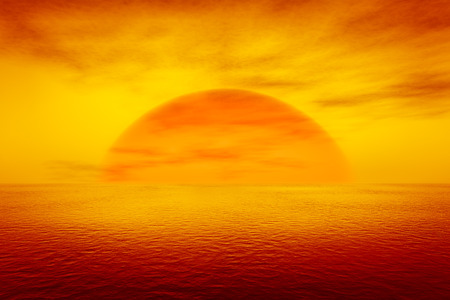 horizons: 3d rendering of a sunset over the sea