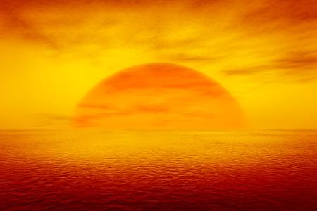 naranja: representación 3D de una puesta de sol sobre el mar Foto de archivo