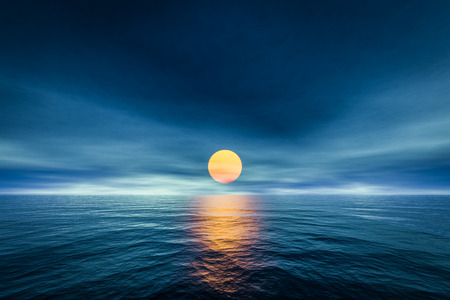 horizon over water: 3d rendering of a sunset over the sea