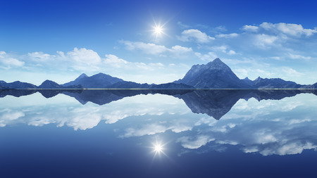 reflecting: 3d rendering of the mountains reflecting in the clear water