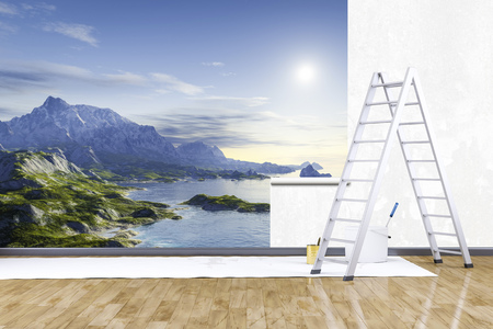 redecorate: 3d render of redecorate a room with a photo mural nature scenery