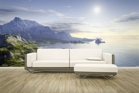 wall mural: 3D rendering of a sofa in front of a photo wall mural landscape