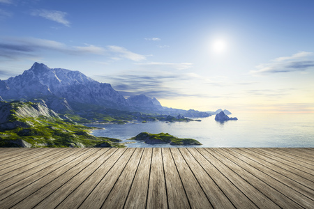 jetty: 3d rendering of a wooden jetty with a beautiful scenery