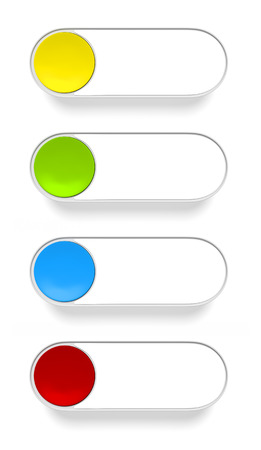 push button: 3d rendering of a push button in different colors