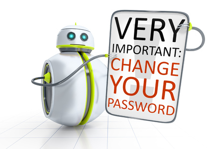 password: A sweet little robot with text change your password
