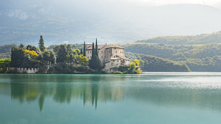 italy landscape: An image of the beautiful Castel Toblino in Italy in the morning light