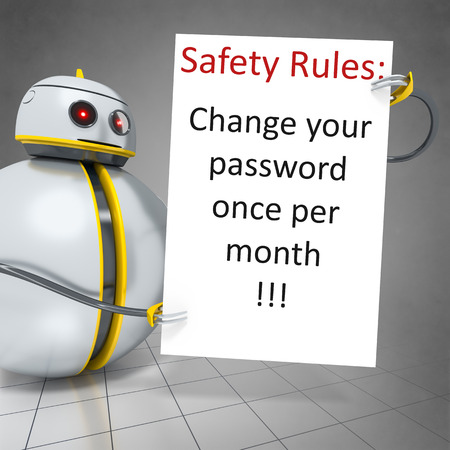 passwords: 3d rendering of a sweet little robot holding safety rules board