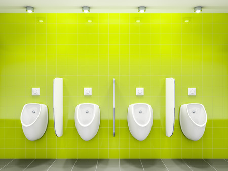 gent's: 3d rendering of a green public restroom with four urinals