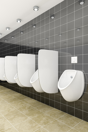 urinal: 3d rendering of a public restroom with urinals in a row Stock Photo