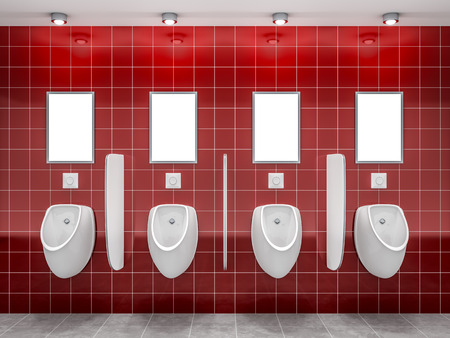 clean bathroom: 3d rendering of a red public restroom with four urinals