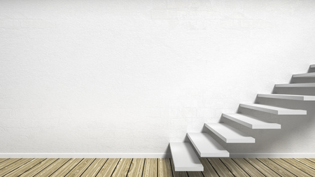 wooden stairs: 3d rendering of a room with stairs