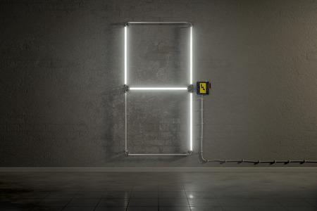 tubos fluorescentes: representación 3D de tubos de neón de reunir el número cuatro