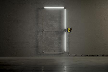 tubos fluorescentes: representación 3D de la construcción de tubos de neón del número siete