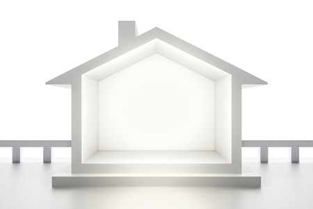 investment real state: 3d rendering of a white house background