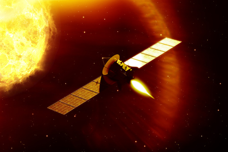 space antenna: 3d rendering of a mission to the sun