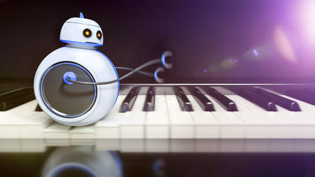 3d render of a sweet little robot runing over piano key