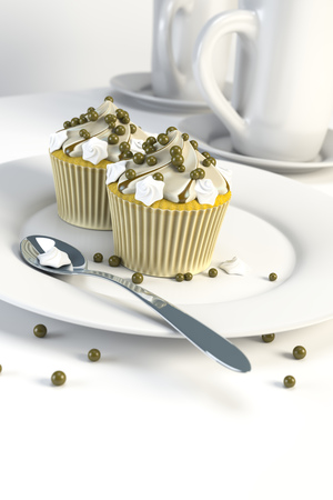 homemade cake: 3d rendering of two delicious cupcakes on a plate Stock Photo