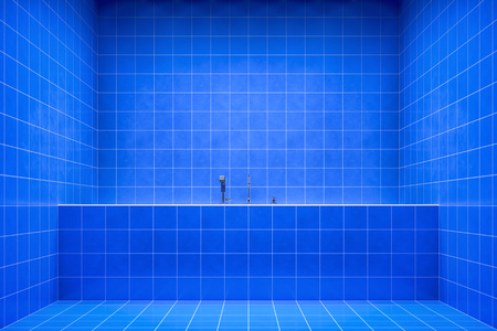 hot tub: 3d rendering of a blue bathroom side view to the tub Stock Photo