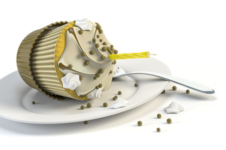overthrown: 3d rendering of an overturned cupcake on a plate