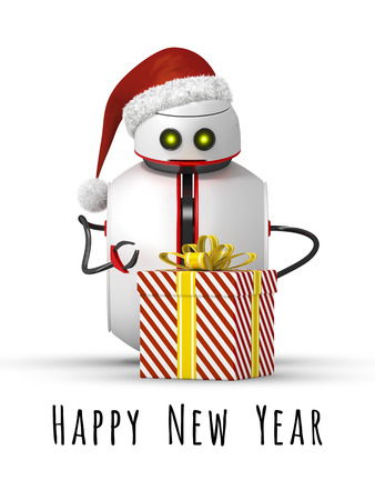3d rendering of a christmas robot with a gift