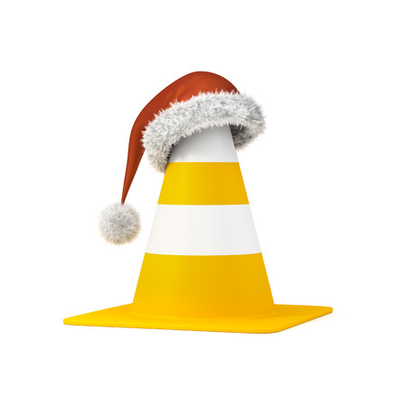 3d rendering of a traffic cone the a christmas hat