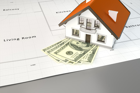 housing project: 3d rendering of planning to build a house with money Stock Photo