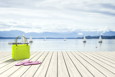 jetty: 3d rendering of a green bag on a wooden jetty with sailing boats in the background