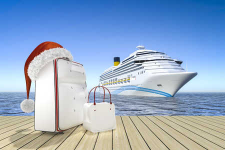 3d rendering of a christmas travel cruise ship