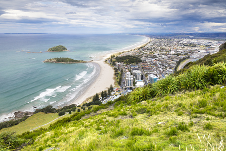the bay: An image of Bay Of Plenty view from Mount Maunganui New Zealand