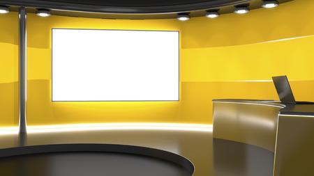3D-Rendering von einem orange TV-Studio Hintergrund