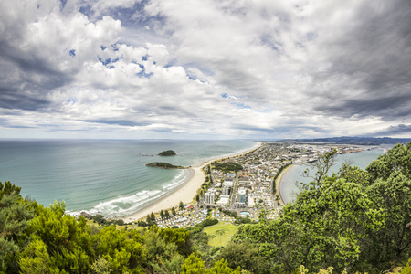 cenital: An image of Bay Of Plenty view from Mount Maunganui New Zealand
