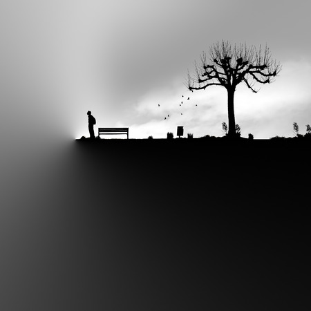 precipice: black and white illustration of a man at abysm