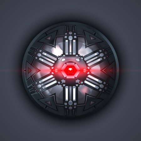 eye red: 2d illustration of a robot eye with red light beam Stock Photo
