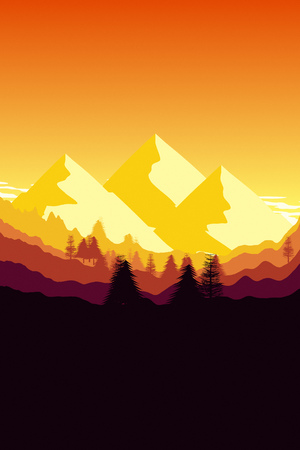 2d illustration of a sunset mountain background