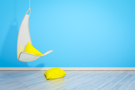 3d rendering of a hanging armchair with yellow pillows and space for your content Stock Photo