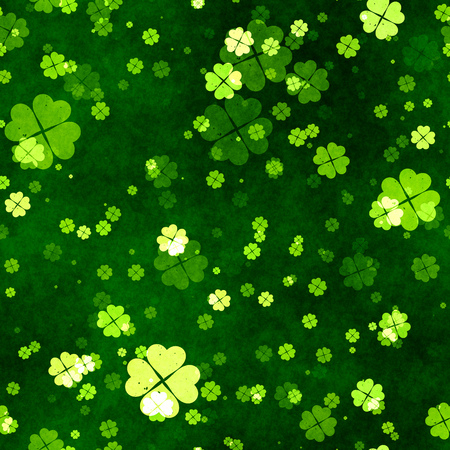 celtic background: 2d illustration of a grunge seamless clover texture Stock Photo