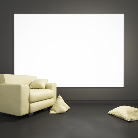 modern living room: 3d rendering of an armchair with pillows and a blank frame for your content