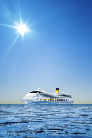 caribbean cruise: 3d illustration of a white cruise ship in front of the clear blue sky