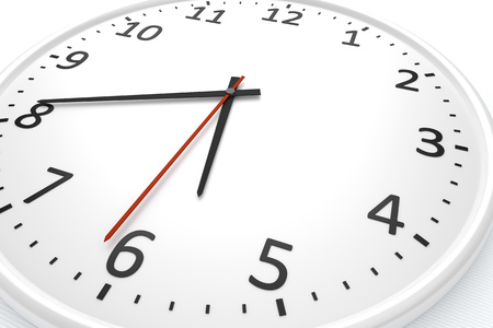 o'clock: 3d rendering of a white clock detail