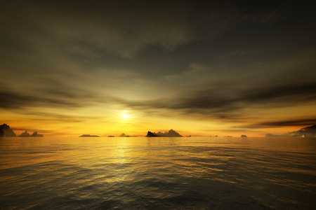 Dramatic: 3d rendering of a golden sunset over the ocean