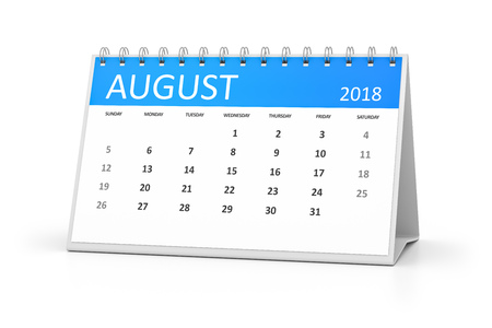 3d rendering of a table calendar for your events 2018 august