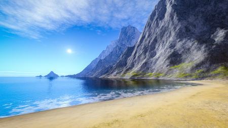 3d rendering of a beautiful summer sand beach