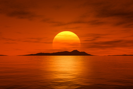 3d rendering of a big beautiful fantasy sunset over the ocean