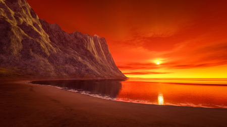 horizon over water: 3d rendering of a beautiful fantasy sunset over the ocean