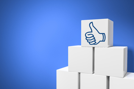 initiatives: 3d rendering of some cubes with thumb up for social networking and space for your message