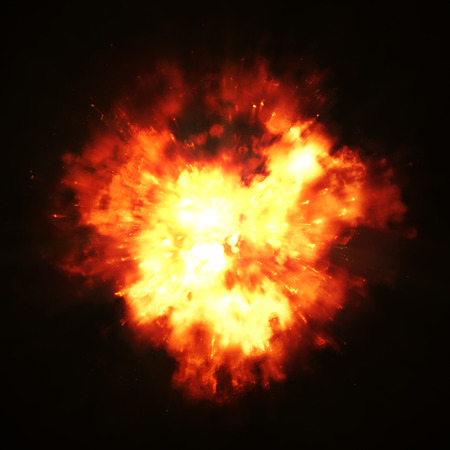2d illustration of a big fire explosion Stock Photo